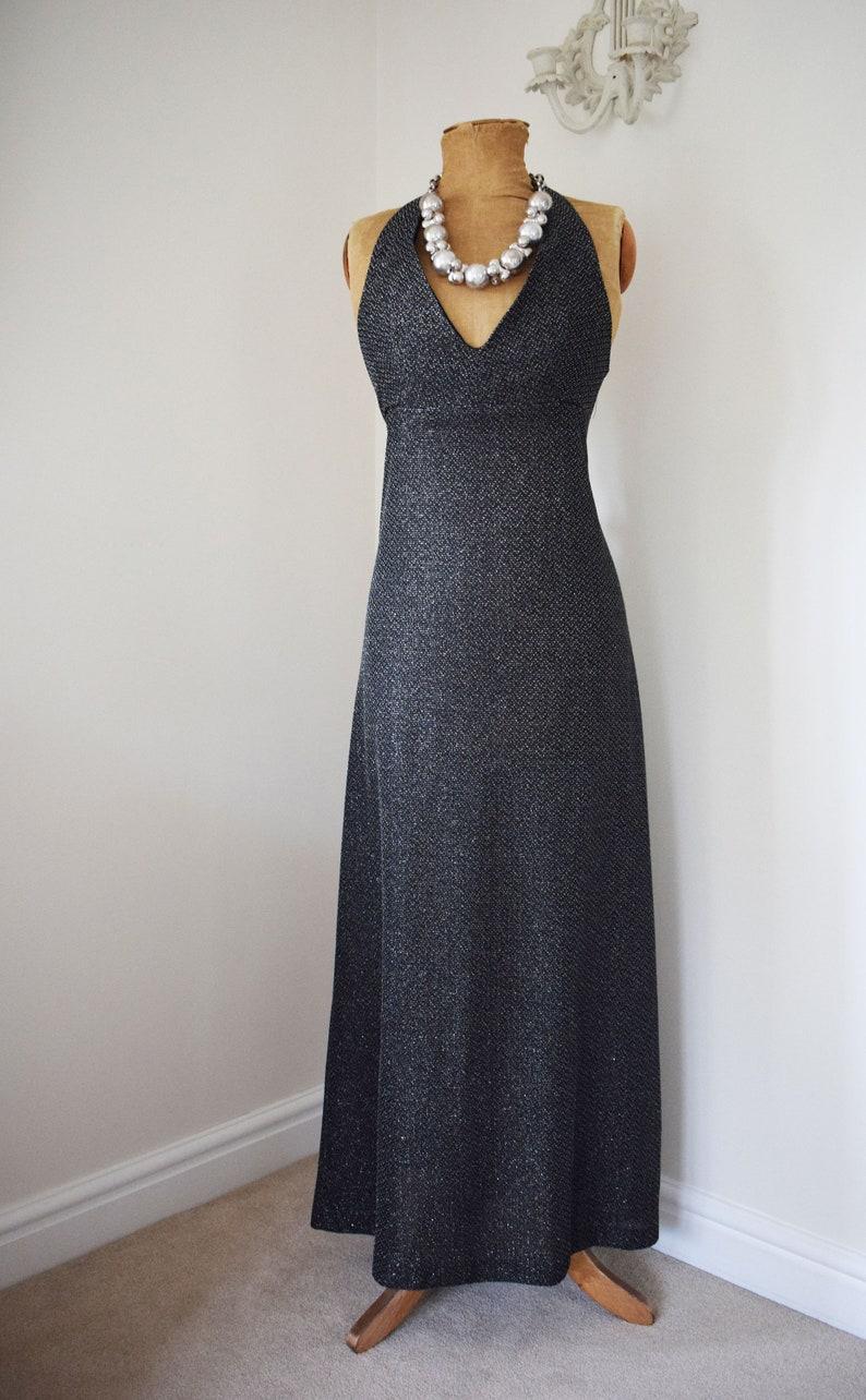 1970s Cocktail Dress Black Silver Lurex Maxi Halterneck