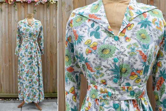 1940s Floral Tropical Print Housecoat