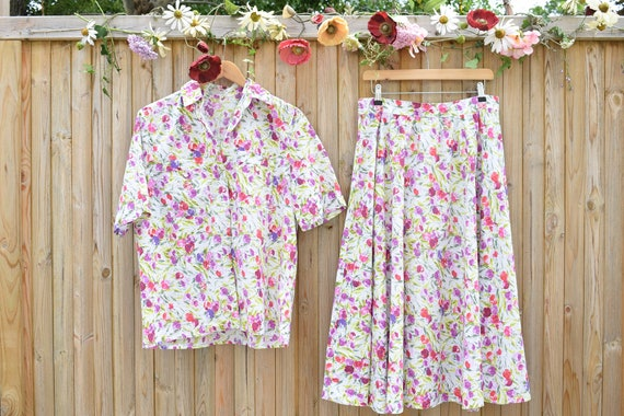 Lilac Floral Cotton Shirt & Skirt Co-Ord | 1980s