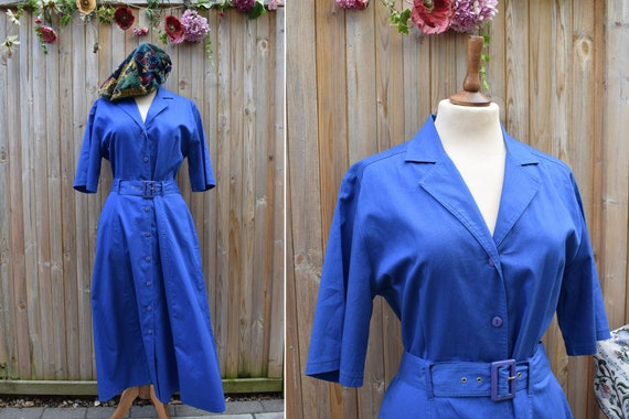 Royal Blue Landgirl Style Dress | 80s does 40s