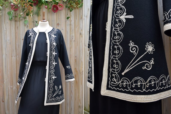 Black Embroidered Moroccan Wool Felt 1970s Jacket