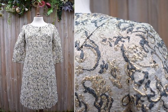 Rare Horrockses 1960s Gold Brocade Shift Dress