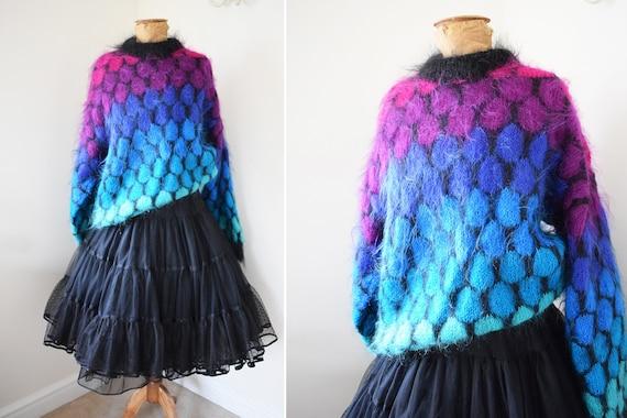 1980s Mohair Oversized Chunky Knit Sweater   Rainb