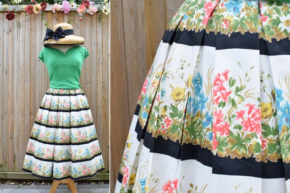 1950s Floral Meadow Border Print Cotton Skirt | 25