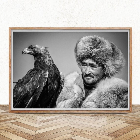 Fine Art Photography Eagle Hunter Print Eagle Wall Decor Bird Of Prey Wanderlust Gift Mongolia Art Travel Print Golden Eagles Poster