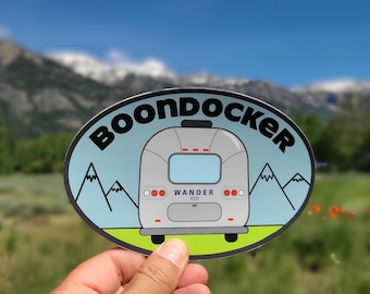 Airstream Bumper Sticker Boondock Camping Vinyl Car Decal Computer Yeti Sticker