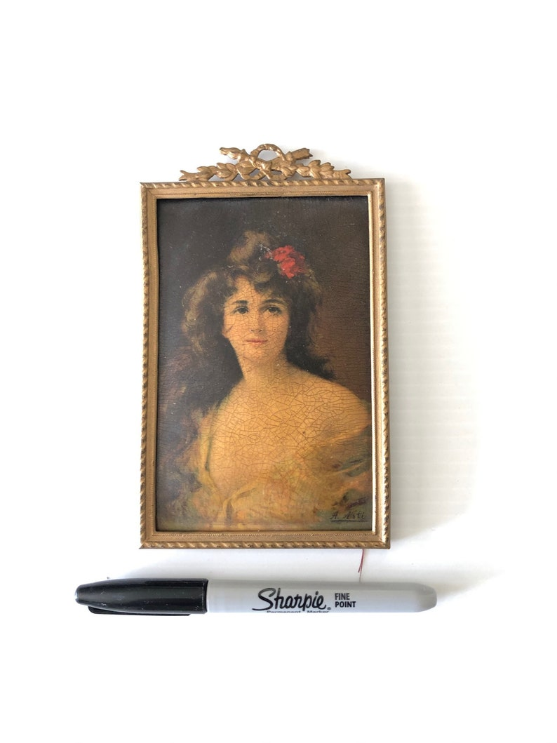 size 3.75 x 5.5 in a gilt GoldBronze metal Frame Signed Antique Miniature plaque of a beauty signed as Angelo Asti