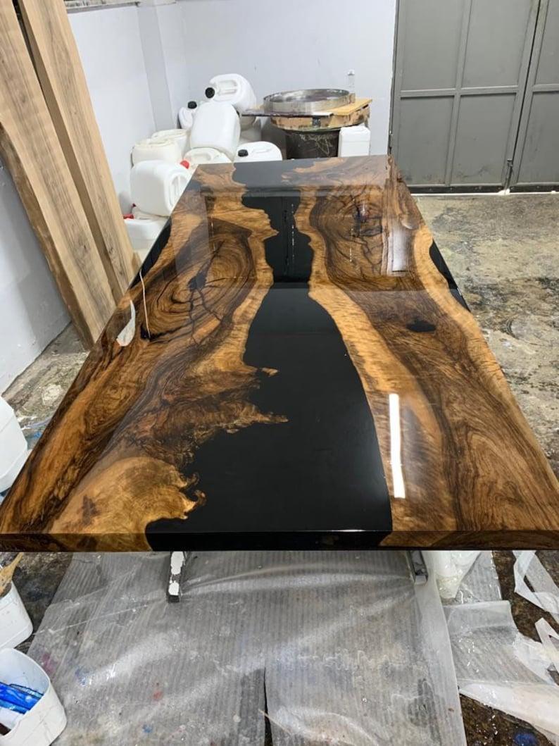 Black Olive Wood Epoxy Resin Dining Tree Table Live Edge Black Epoxy Tree