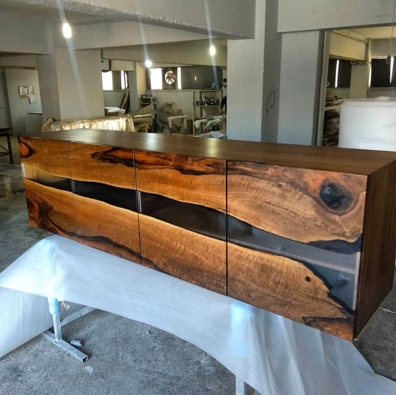 Made to Order Custom Walnut Epoxy Kitchen Cabinet Custom ...