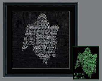 Halloween blackwork, Blackwork ghost pattern, PDF Blackwork Embroidery Chart, PDF Embroidery Pattern, Blackwork PDF, by The Steady Thread