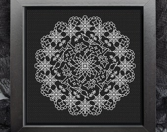 Halloween blackwork, Spooky doilies, witches and cobwebs , PDF Blackwork, PDF Embroidery Pattern, Blackwork PDF, by The Steady Thread