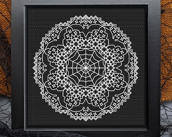 Halloween blackwork, Spooky doilies, bats and cobweb , PDF Blackwork, PDF Embroidery Pattern, Blackwork PDF, by The Steady Thread