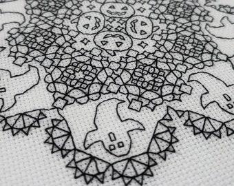Halloween blackwork, Spooky doilies - ghosts and pumpkins , PDF Blackwork, PDF Embroidery Pattern, Blackwork PDF, by The Steady Thread