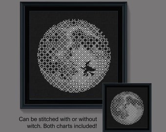 Halloween blackwork, Blackwork spooky moon pattern, PDF Blackwork Embroidery Chart, PDF Embroidery Pattern, Blackwork PDF,