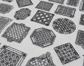 Blackwork Mini frames, Blackwork pattern, PDF Blackwork Embroidery Chart, PDF Embroidery Pattern, Blackwork PDF, by The Steady Thread