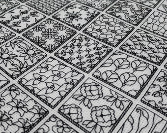 66 Botanical blocks, PDF Blackwork embroidery, PDF Blackwork flowers and botanicals chart. by The Steady Thread