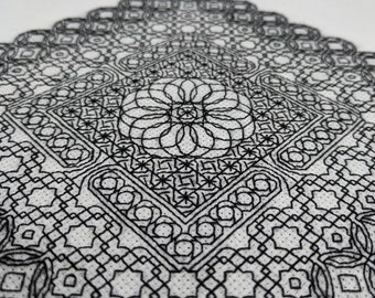 Geometry adventures 3, PDF Blackwork Embroidery Chart, Botanical sampler. PDF Embroidery Pattern by The Steady Thread