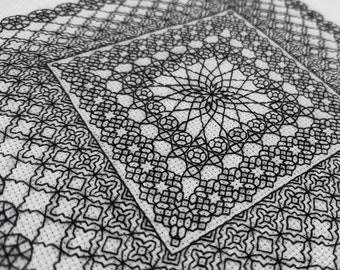 Geometry adventures 2, PDF Blackwork Embroidery Chart, Botanical sampler. PDF Embroidery Pattern by The Steady Thread