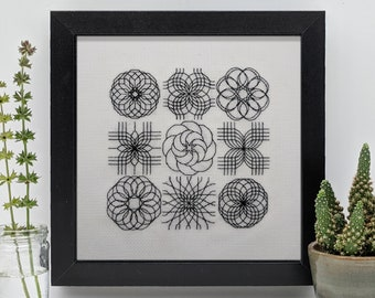 Little adventures in geometry, PDF Blackwork Embroidery Chart, PDF Embroidery Pattern by The Steady Thread