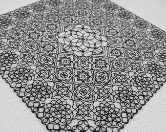Geometry adventures 4, PDF Blackwork Embroidery Chart, Botanical sampler. PDF Embroidery Pattern by The Steady Thread