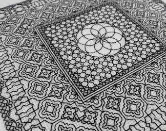 Geometry adventures 1, PDF Blackwork Embroidery Chart, Botanical sampler. PDF Embroidery Pattern by The Steady Thread