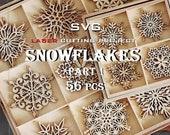 Snowflake, SVG, Set, Laser ready file, Christmas toy, Laser cutting, CNC plan, Wooden, for Glowforge, DIY, Cut file, Laser cut, Ornament