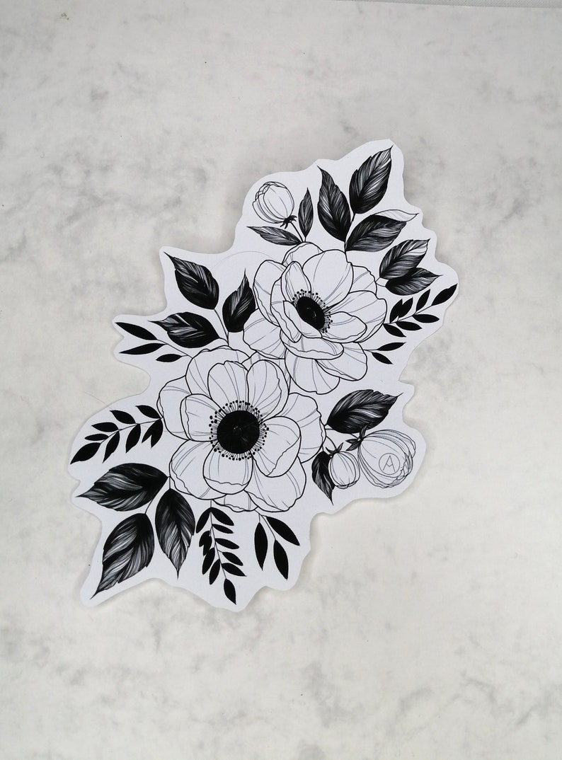 Bullet journal Floral sticker black Floral stickers Minimalistic design Laptop Sticker Anemone Sticker