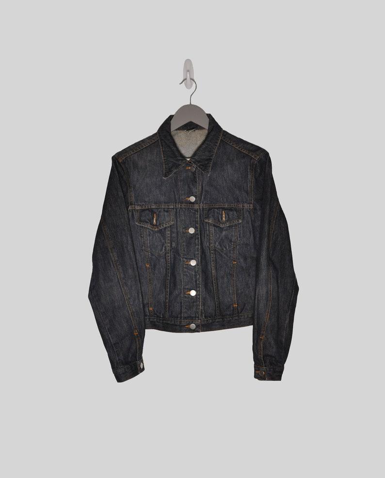 Dark Denim Jacket Dark Jean Jacket Vintage Denim Jacket Dark Trucker Jacket