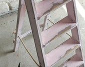 Reclaimed Distressed Blush Pink Stepladder Plant Stand Towel Rail or Wedding Decoration