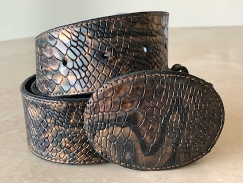 Snake Embossed Leather Belt and Buckle image 0