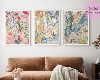 Matisse print Set of 3 digital prints, art print download, digital download wall art, printable abstract art, instant download printable art