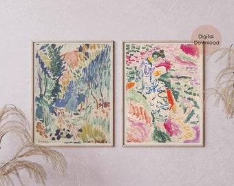 Matisse 2 digital prints, Henri Matisse printable, Abstract Painting, Digital Download, Modern Gallery Wall Set [High Quality]
