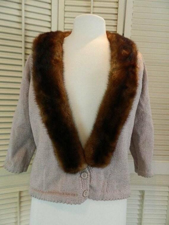 Vtg 40's 50's mink collar sweater