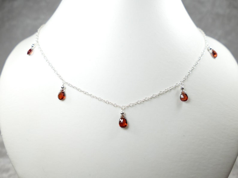 Full natural red Garnet drops necklace sterling silver 925 thin dainty original Gift for Her precious gemstone jewelry wedding present party