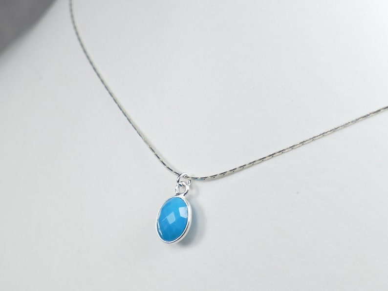 Natural Sleeping beauty Turquoise necklace sterling silver 925 thin dainty pendant Gift for Her precious gemstone jewelry wedding blue
