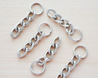 Silver Chain for Keychains - Key Rings for Jewelry Making - Silver Keychains - 2g Thick Key Ring Chains - Set of 10, 25, 50