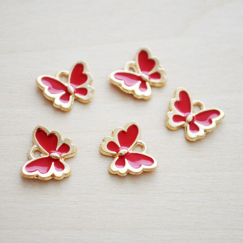 Red Enamel Charms Enamel Butterfly Pendant Set of 5 Red Butterfly Charms Gold Keychain Charms