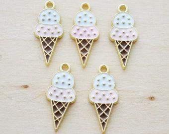 Pink Ice Cream Cone Enamel Charms - Enamel Food Charms - Double Scoop Ice Cream Charm - Set of 5