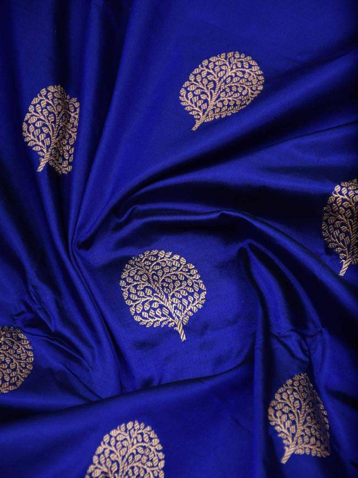 Blue soft lichi silk jequard designer saree with blouse for