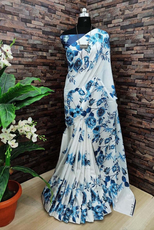 white saree soft satin silk digital print saree and blouse for women,saree,saree for women,indian saree,wedding saree,designer saree,sari
