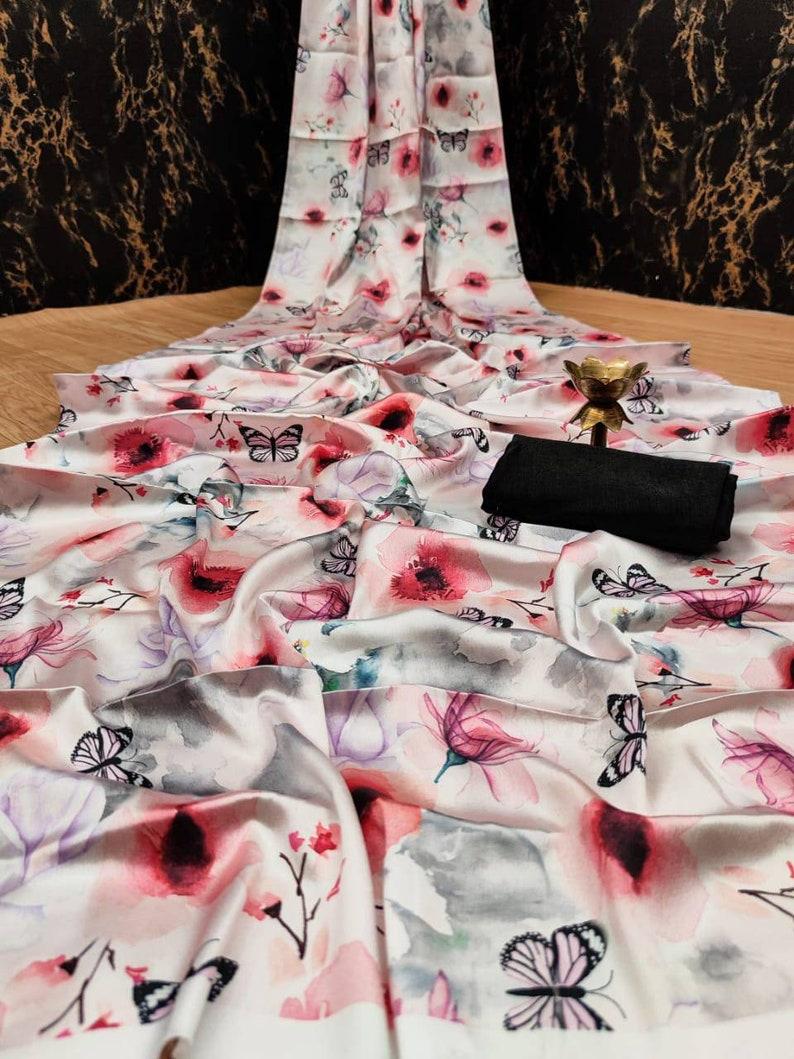 indian saree sari,saris Heavy japan sartin saree and blouse for women designer saree wedding saree white saree saree for women saree