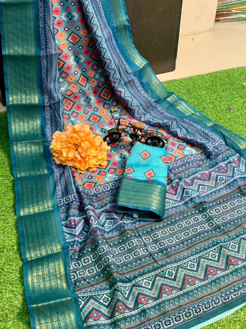 blue saree linen digital print with waeving border saree and blouse for women,indian saree,saree dress,traditional saree,wedding saree