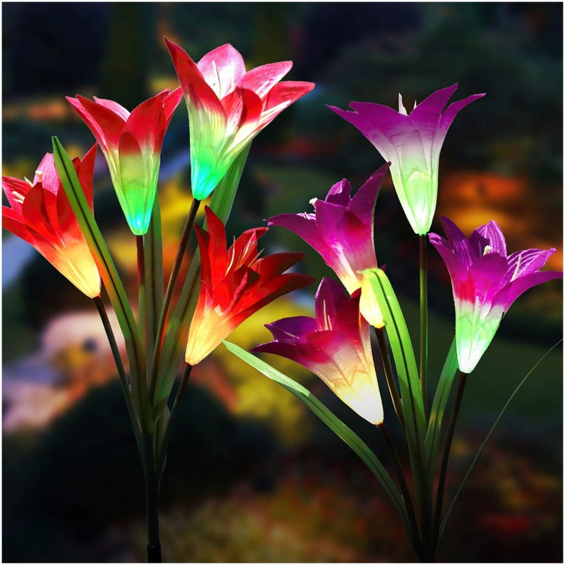 New year Sale Solar garden LED lights  Color changing Light Red and Pink