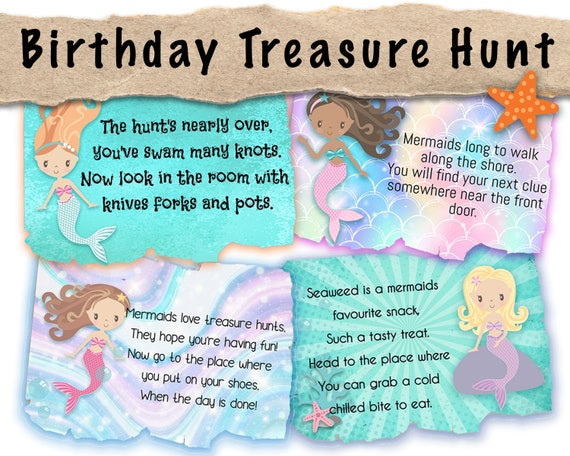 Birthday Treasure Hunt Clues Scavenger Hunt Clues Editable Mermaid Treasure Hunt Clues Edit In Corjl Customise Your Clues Easily Online By Lock Paper Escape Catch My Party