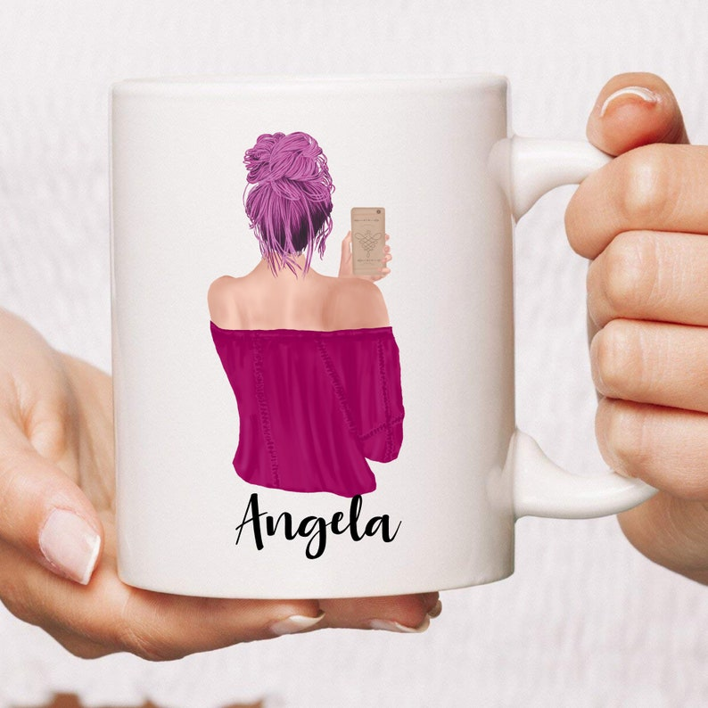 PERSONALIZED Selfie Girl Coffee Mug  Unique Gift For Her  image 0