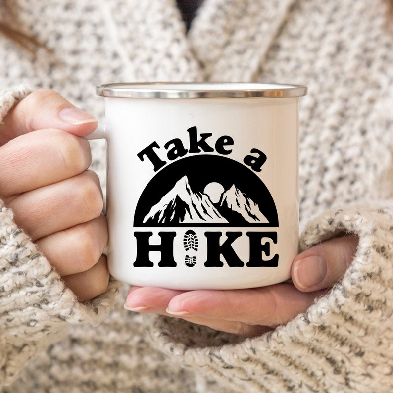 Take A Hike Enamel Mug  Camping Cup  Gift for Campers  image 0