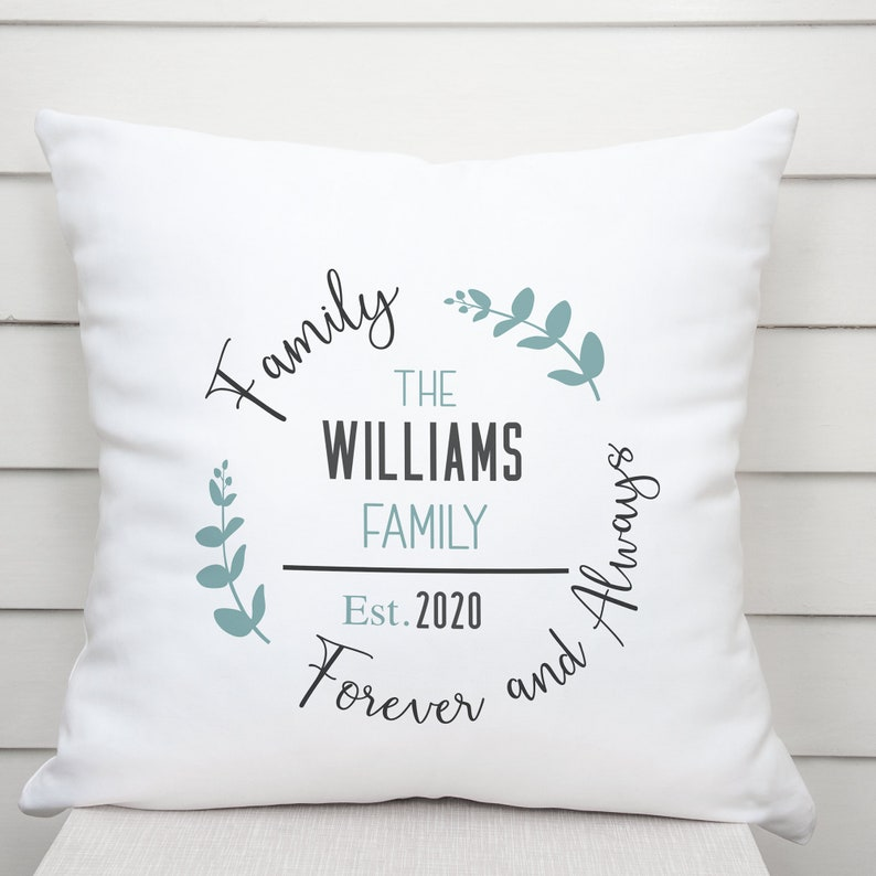 PERSONALIZED Family Name Throw Pillow Cover  Housewarming image 0