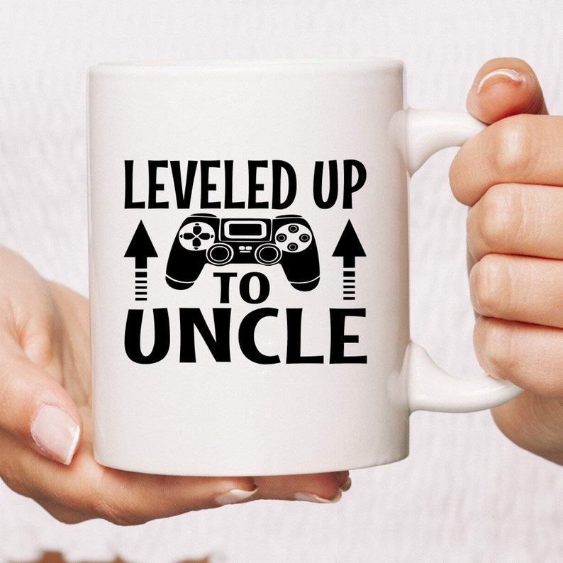Leveled Up To Uncle Funny Coffee Mug  Pregnancy Reveal Gift  image 0