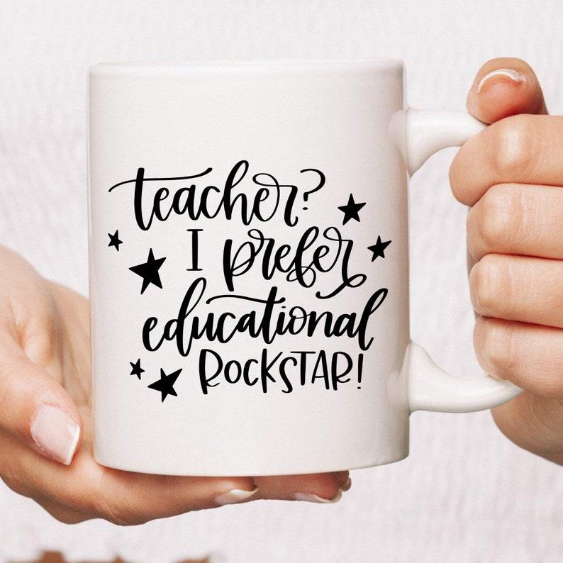 Teacher Educational Rock Star Funny Coffee Mug  Gift For image 0