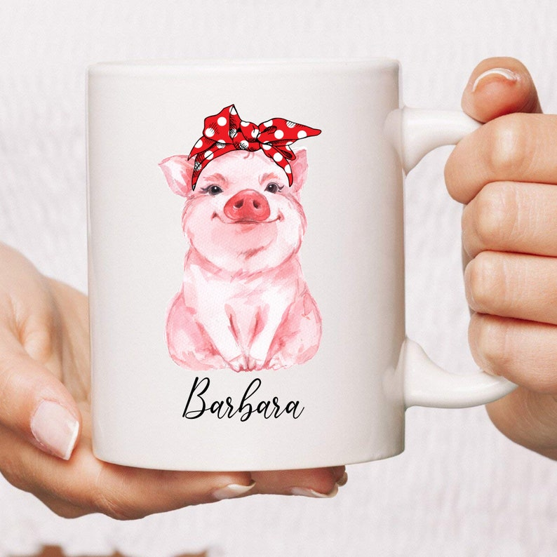 PERSONALIZED Cute Pig Mug  Gift For Pig Lovers  Cute Animals image 0